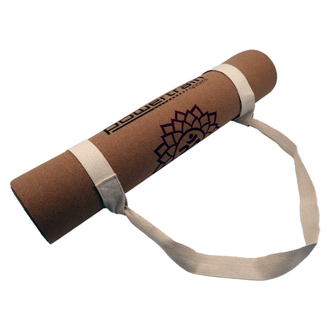 Powertrain Cork Yoga Mat with Carry Straps Home Gym Pilate Chakras