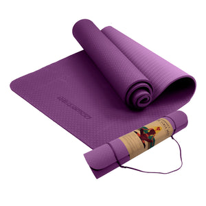 Powertrain Eco Friendly TPE Yoga Mat Exercise Pilates Gym 6mm - Purple