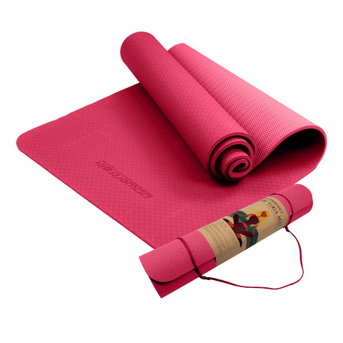 Powertrain Eco Friendly TPE Yoga Exercise Pilates Mat 6mm Rose Pink