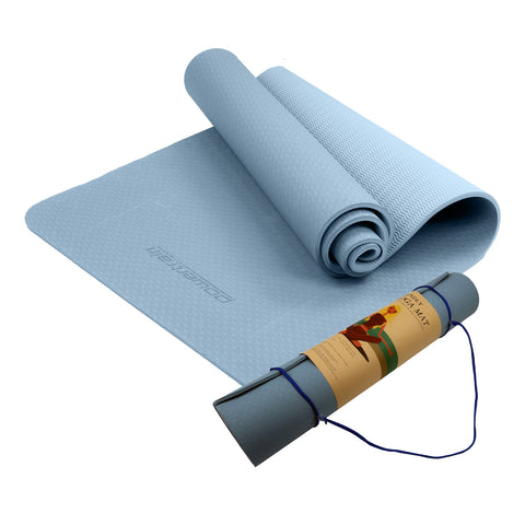 Powertrain Eco Friendly TPE Yoga Exercise Pilates Mat 6mm - Sky Blue
