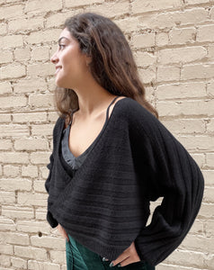 Black Wrap Sweater Made in Italy