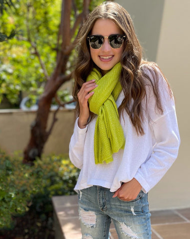 Chartreuse Cashmere Scarf  Ray Ban Sunglasses