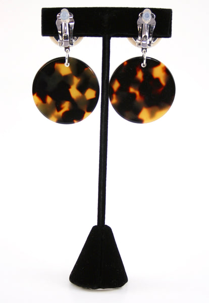 Resin Round Earrings in Turtoise and Ivory