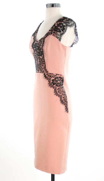 pink dress with black lace side view