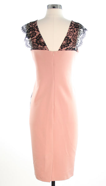 pink dress with black lace back view