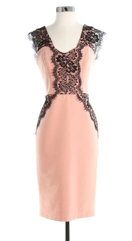 pink dress with black lace
