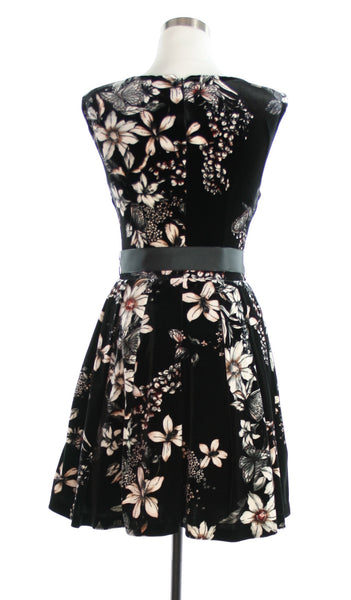 floral velvet dress back view