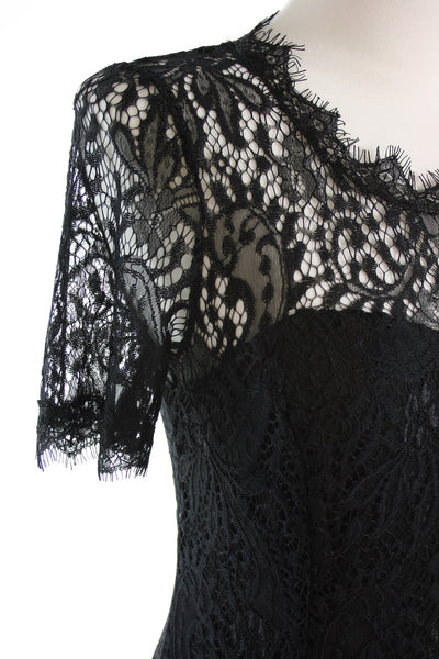 black lace dress shoulder detail