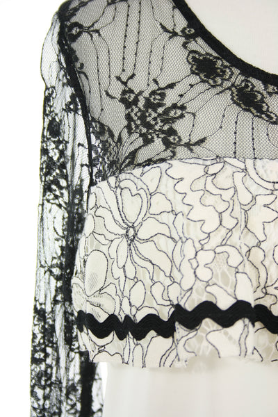 black lace neck and shoulder detail
