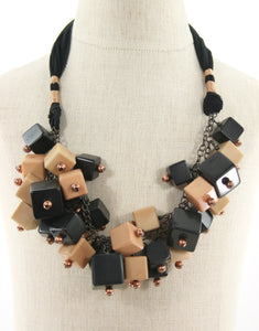 handmade cubes tie necklace