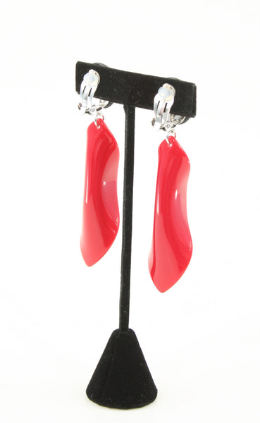 red resin petal earrings back view