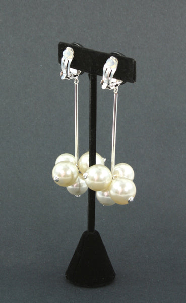 resin black and pearl grape earrings back view