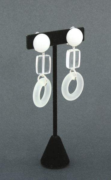 resin lucite-look white earrings side view
