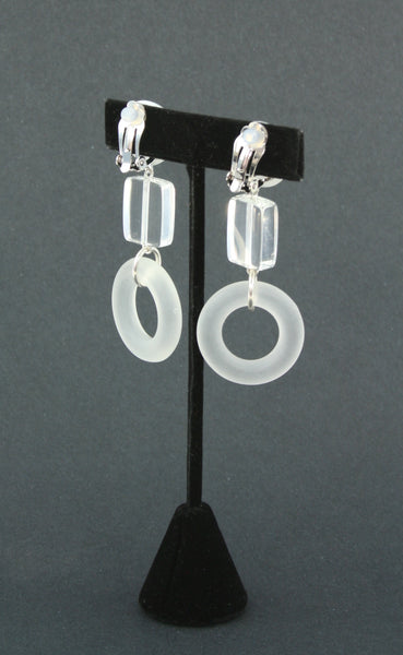 resin lucite-look white earrings back view