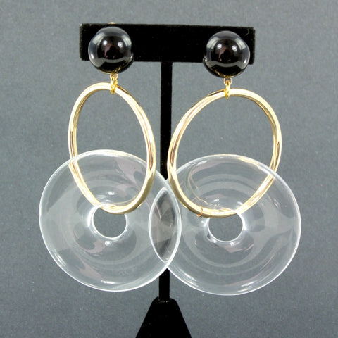 Resign lucite-look black and gold clip earrings