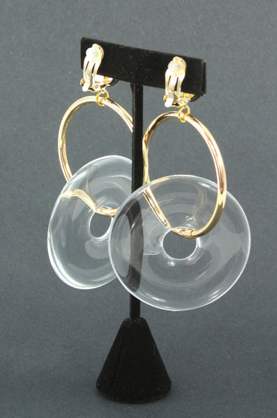 resin lucite-look gold clip earrings back view