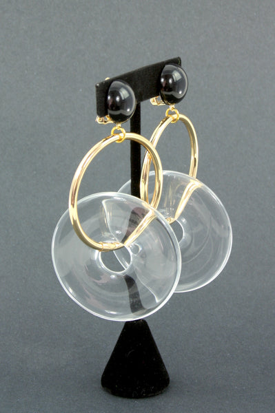 resin lucite-look gold clip earrings side view