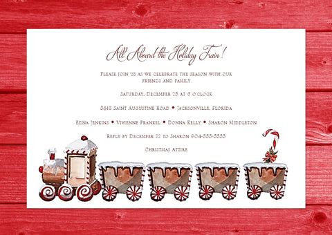 Train - Holiday Christmas Invitation