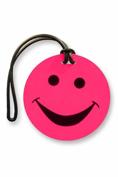 Smileys Luggage Tags - Neon Pink