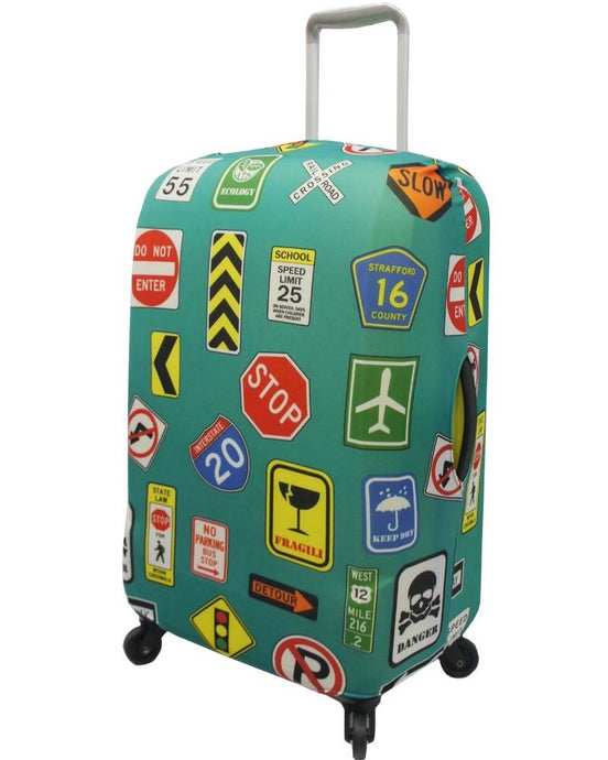 The Australian Luggage Co Spandex Medium Size Luggage Cover - Travel Signs Design - LC005/M
