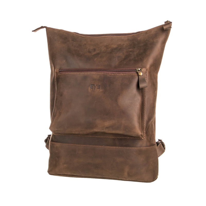 dark brown Handcrafted leather Rucksack with one front zipper pocket