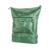 green Handcrafted leather backpack with one front zipper pocket