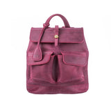 luxury pink Handcrafted leather mini Bag with two front pockets for woman