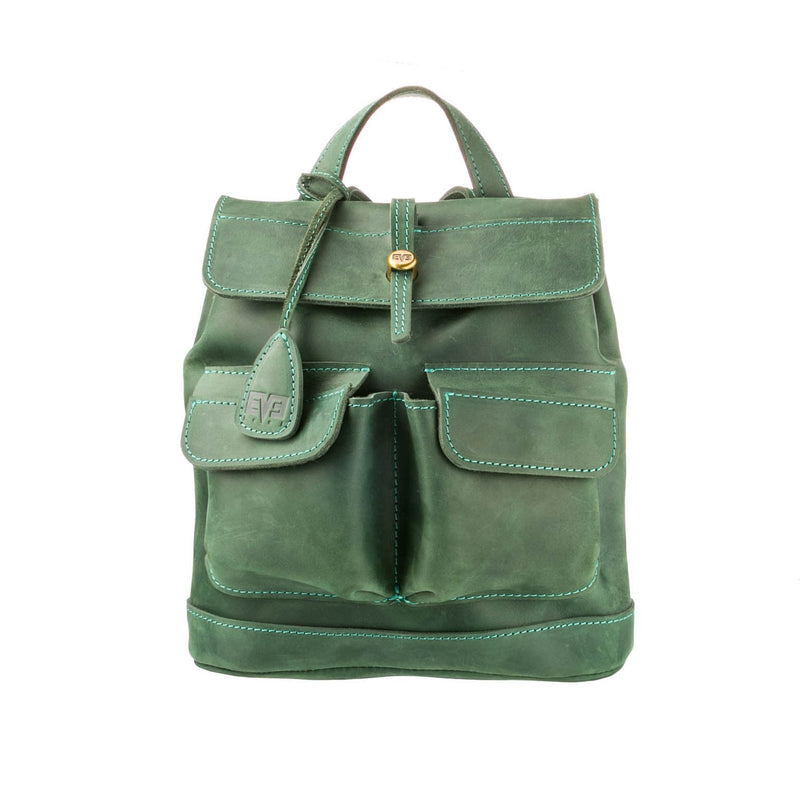 green luxury Handcrafted leather mini Bag with two front pockets