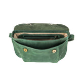 green Handcrafted leather purse for woman