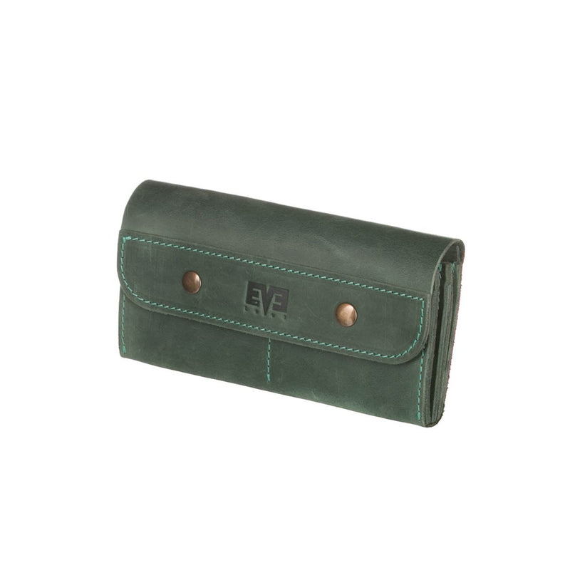 Handmade green LEATHER WALLET on snaps for woman