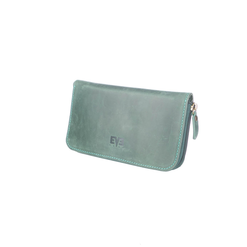 luxury green Big Leather Travel wallet for woman
