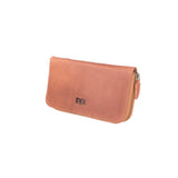 luxury bright brown Big Leather Travel wallet for woman