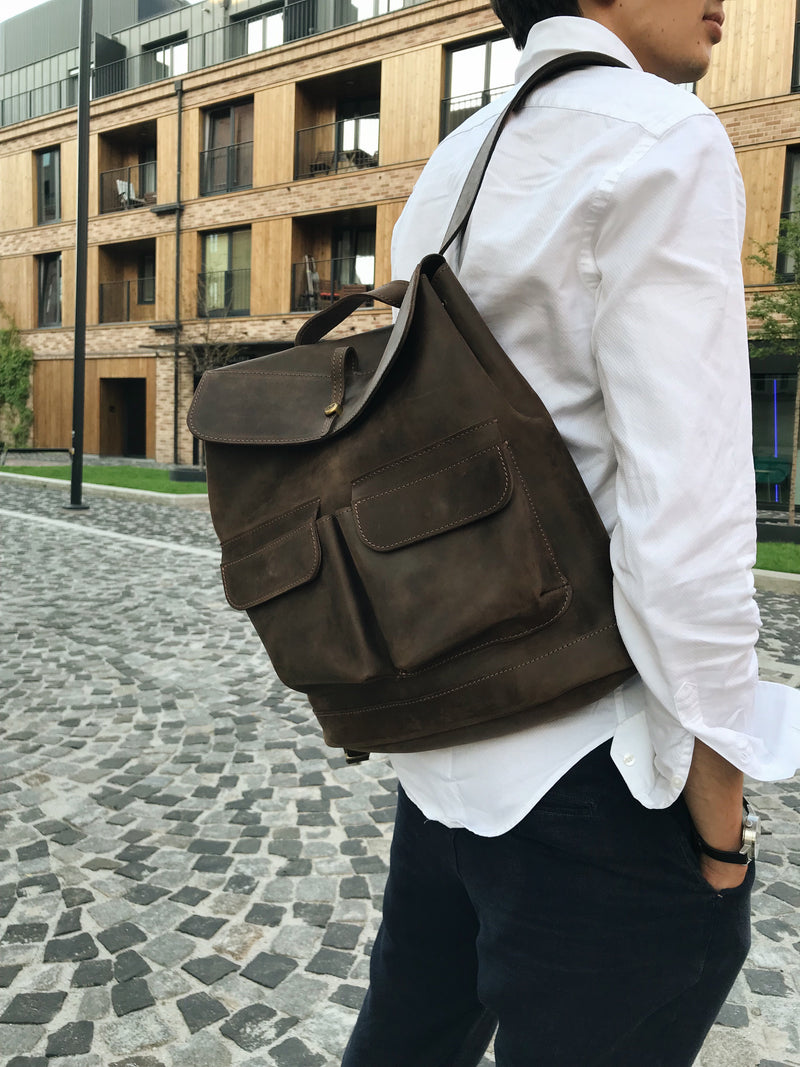 luxuty brown Handcrafted LEATHER BACKPACK for man