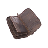 top quality brown Big Leather Travel wallet for man