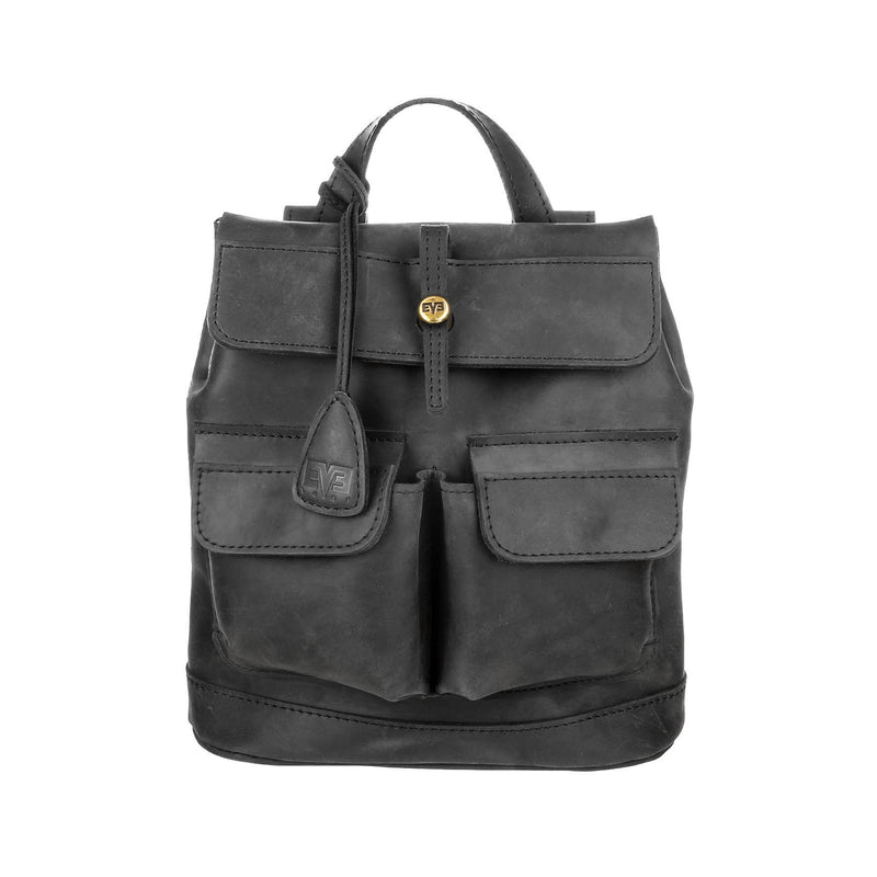 luxury black Handcrafted leather mini Bag with two front pockets for wonan