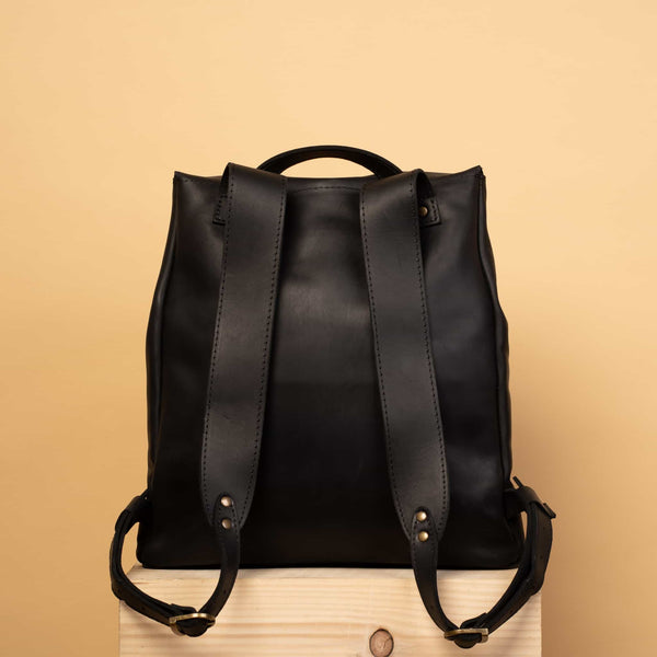 Classical black leather backpack for man and woman