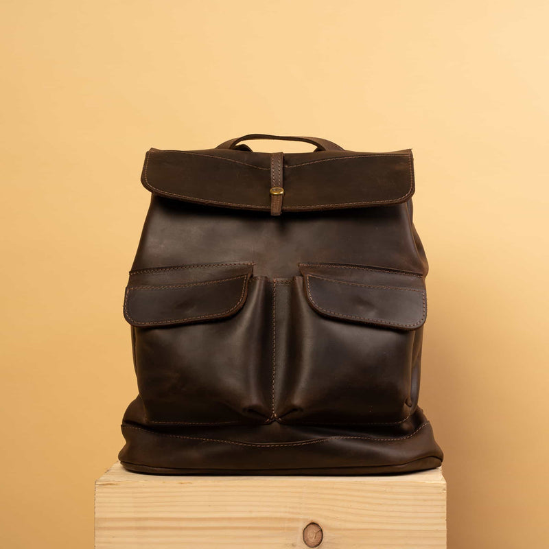 Classical dark brown leather backpack