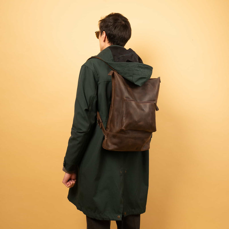 lix Handcrafted leather backpack with one front zipper pocket