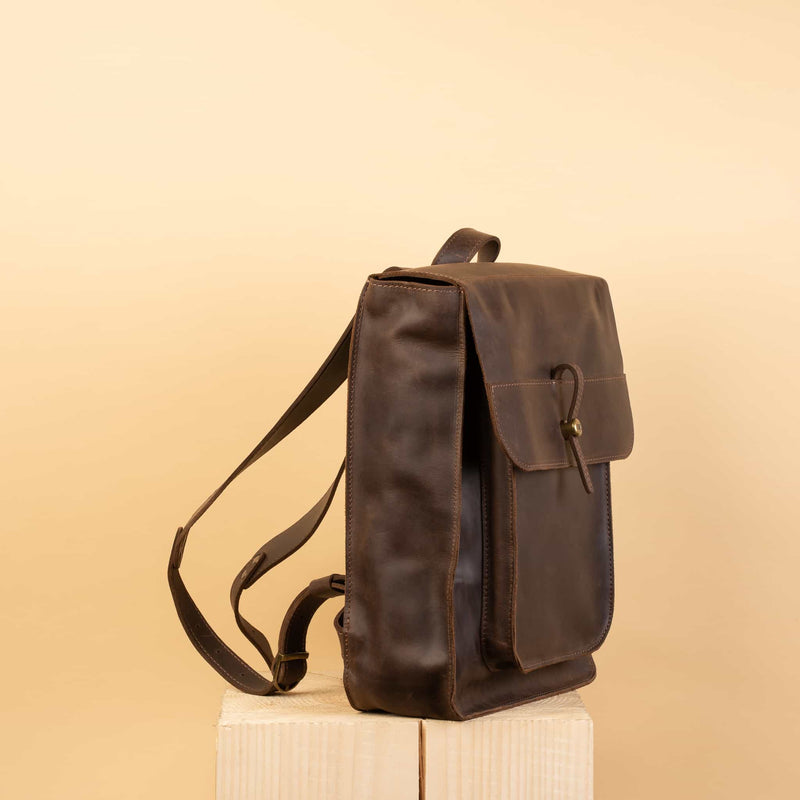 premium quality Hand crafted LEATHER BACKPACK with laptop compartment