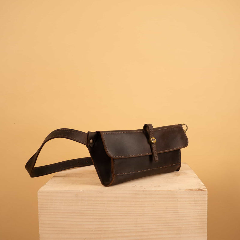 luxury Dark brown Leather waist bag