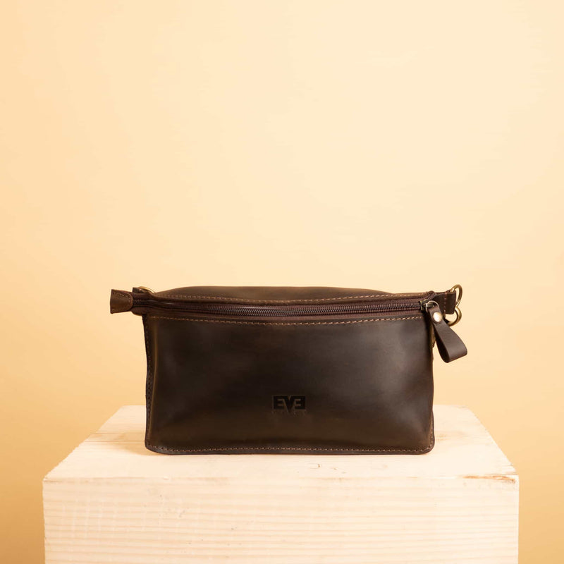 Leather zipper waist bag