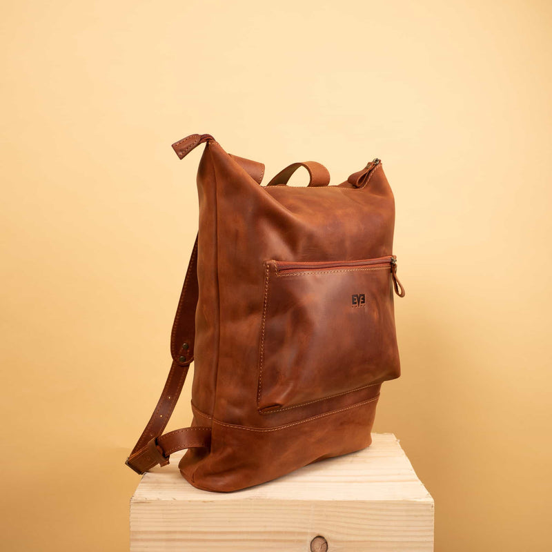 Handcrafted leather cognac brown  Rucksack with one front zipper pocket