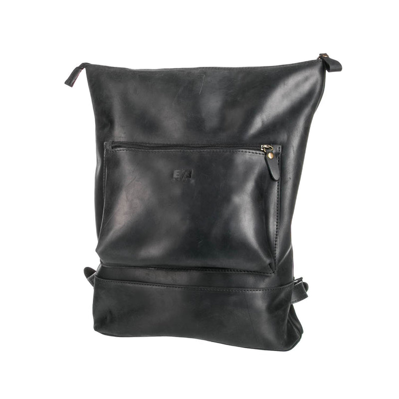 luxury black Handcrafted leather backpack with one front zipper pocket