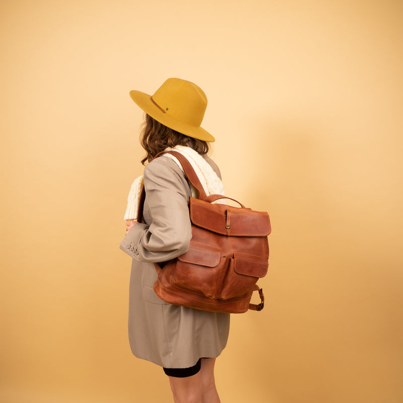 premium Handcrafted LEATHER BACKPACK with LINING
