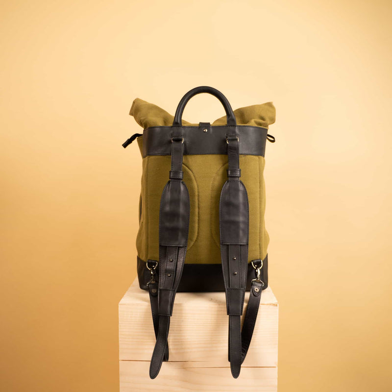premium Leather canvas roll top Rucksack with separate laptop compartment and removable front zipper pocket