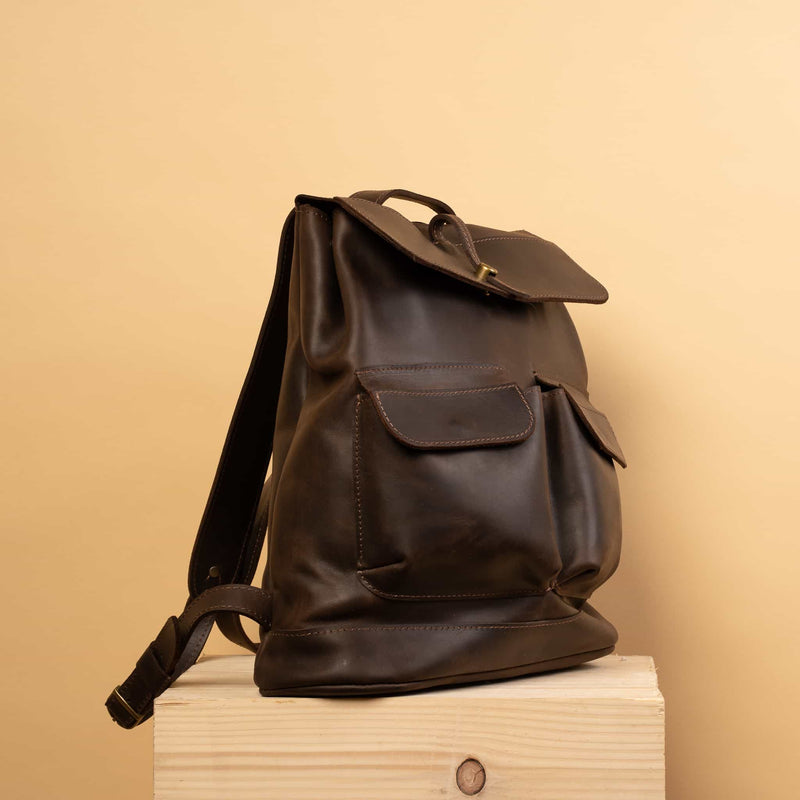 premium brown Handcrafted LEATHER BACKPACK