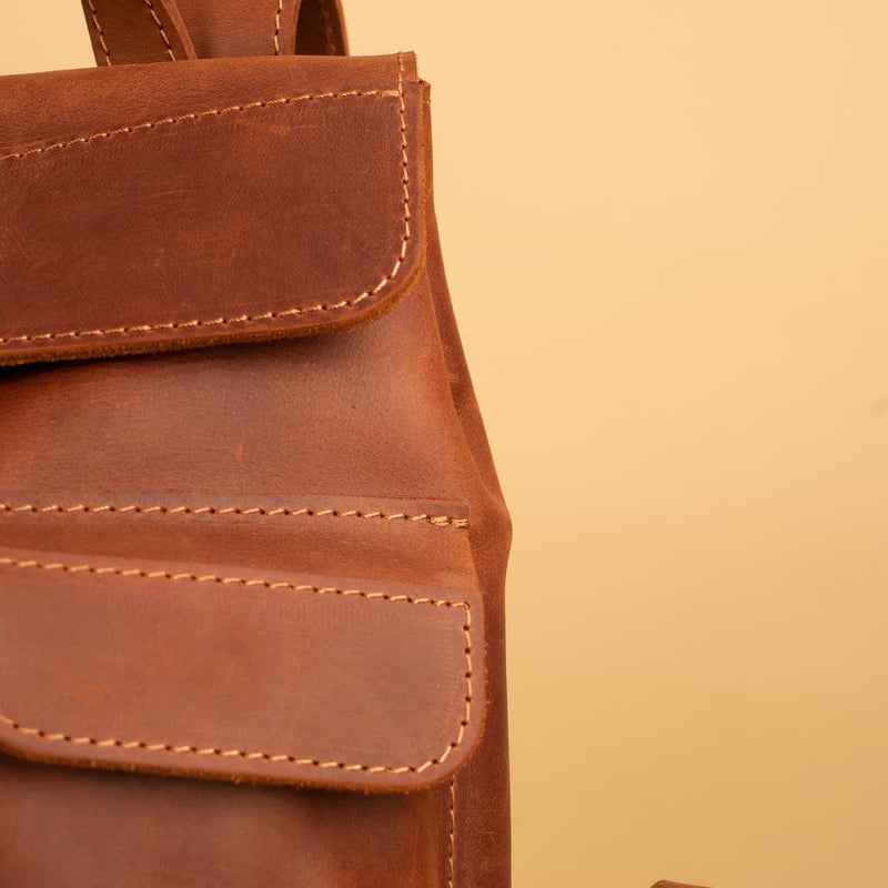 Small classic leather backpack