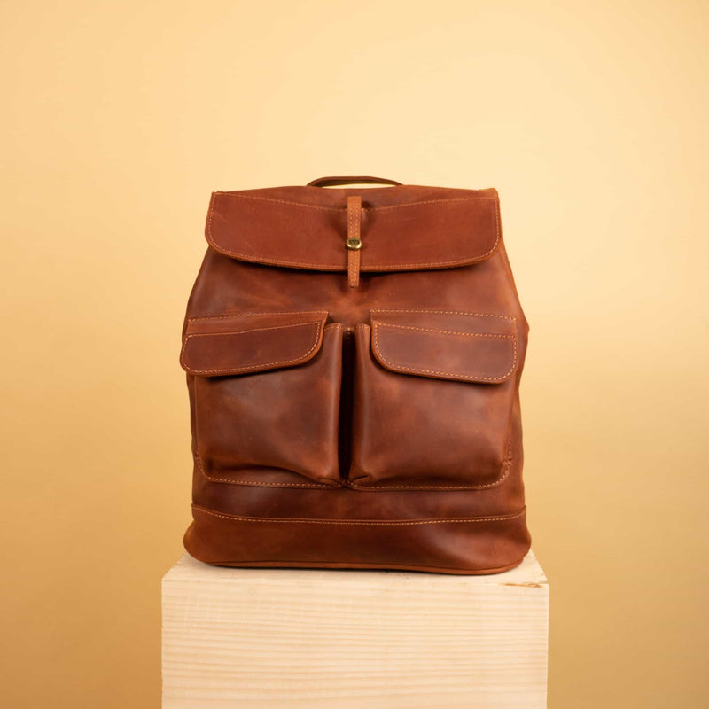 leather changing backpack