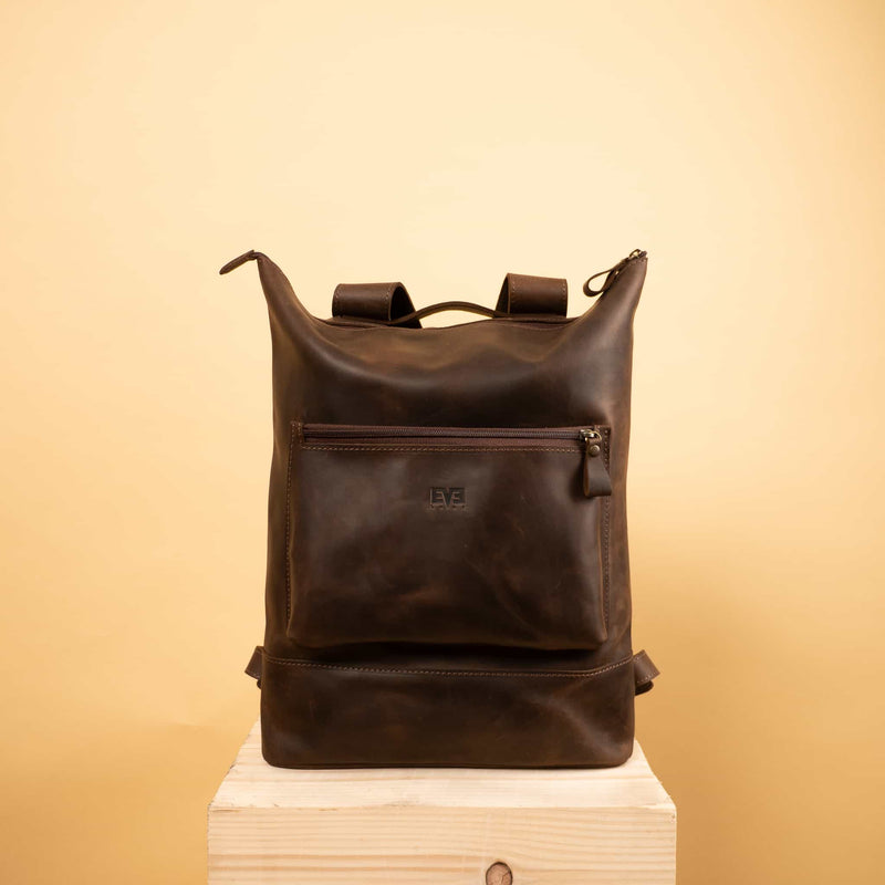 premium brown Handcrafted leather backpack with one front zipper pocket