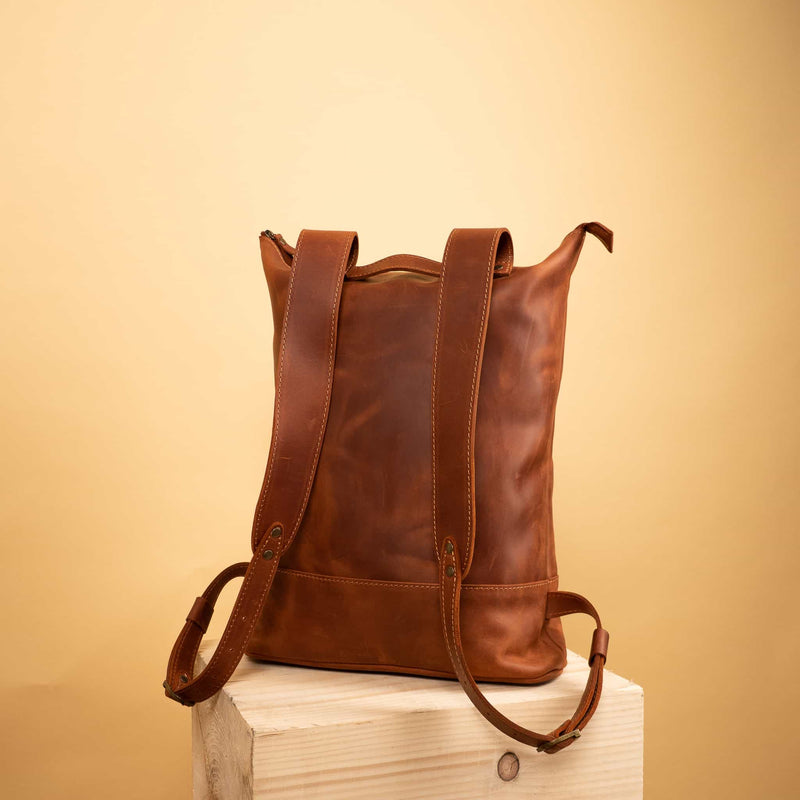 premium Handcrafted leather Rucksack with one front zipper pocket